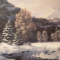 "Dalhart Windberg Ltd Ed ""Snow-Crowned Silence"" 1979 art print, signed by the artist - Christmas Special"