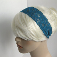 Stretch Lace Headband Teal Blue Flowers Head Wrap Women's and Girl's Hairband