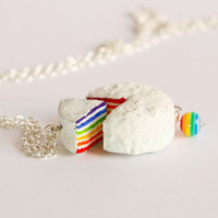 Rainbow necklace kawaii dessert cake miniature food Polymer clay sweet