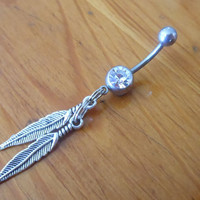 Belly Button Ring -2 Feather Belly Button Ring