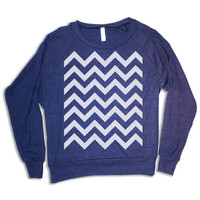 Womens CHEVRON  Pullover - american apparel sweatshirt S M L (heather navy blue)