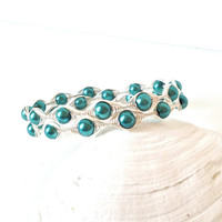 teal double wrapped bangle bracelet