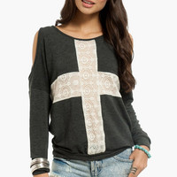 Lace Shadow Shoulder Cutout Sweater $23