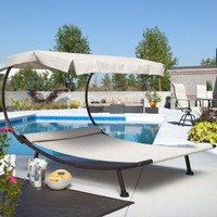 Del Rey Double Chaise Lounge with Canopy | www.patiofurnitureusa.com