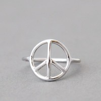 SILVER PEACE RING SILVER PEACE SIGN RING PEACE JEWELRY by Kellinsilver.com - Costume Jewelry Store as ETSY
