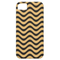 Beeswax Color And Black Waves Patterns iPhone 5 Cases from Zazzle.com