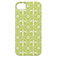 Acid Green And White Fleur De Lis Pattern iPhone 5 Cover from Zazzle.com