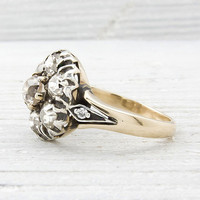 Antique Victorian Silver on Gold Diamond Cluster Engagement Ring | Erstwhile Jewelry Co.