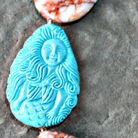Mermaid Carved Turquoise Chunky Rustic Jasper Necklace - Unique Chunky Tear Drop Gemstones by Mei Faith