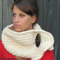 Chunky Wool Cowl Vanilla Cream or CHOOSE Your by swakdesigns