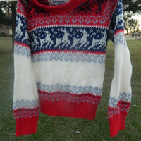 Vintage baby 4t 5t winter red white navy grey Reindeer sweater