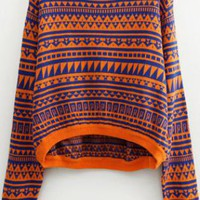 Geometric Pattern Sweater Round Neck Sweater S007140