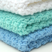 Washcloths Crochet Cotton Dishcloths Spa Colors Blue, Aqua and White Set of 3