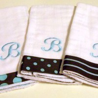 Baby Block Script Dots stripes Trio Baby Burp Cloths