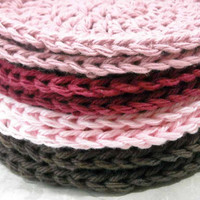 Crochet Makeup Remover Pads Face Cloths Cotton Washcloths Set of 8 Pink, Mauve, Chocolate Brown, Burgundy