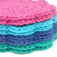 Face Scrubbies Washcloths Cotton Crochet Jewel Tone Collection Set of 8 Handmade Scalloped Edge
