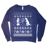 Womens Geeky Christmas Sweater Print Long Sleeve Sweatshirt Pullover (American Apparel Navy)
