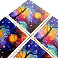 Winter Sparkle Coasters, Ceramic Tile Set, MADART Megan Duncanson, Bright Whimsical, Nature, Rainbow, Table Protection