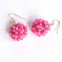 Crochet Hot Pink Seed Bead Earrings