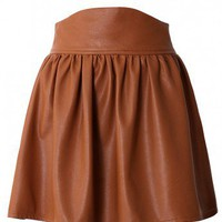 Camel Faux Leather Skater Skirt by Chic+ - Bottoms - Retro, Indie and Unique Fashion