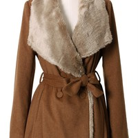 Brown Double Breasted Coat with Faux Fur Lining