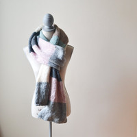 Color Block Hand Knit Scarf, Ready to Ship, Multicolor fall scarf, pink, seafoam, natural, ivory, gray, charcoal, barley