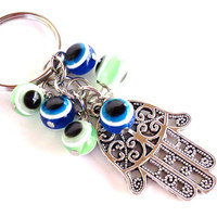 Hamsa Evil Eye Keychain Bag Charm Keyring Protection Yoga Accessories Christmas Stocking Stuffer Unique Gift Under 10 Item J1
