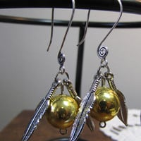 Snitch Earrings Inspired by Harry Potter by RoseBukatyBrown