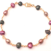 Freshwater Pearl Bracelet - Pink, Green, and Beige in Gold