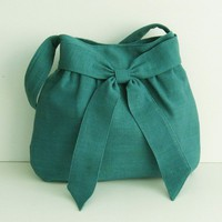 Teal Hemp/Cotton Bag Half Bow by tippythai on Etsy