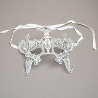 White Venetian Butterfly Mask