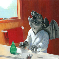 Gargling Gargoyle humorous art print 11x12 by JeffSpackman
