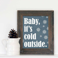 Digital Art Christmas Print Poster Baby It's Cold Outside Snowflake Art Print - Denim Blue Snowflakes