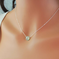 Pale Aqua Chalcedony Gemstone Choker Soft Blue Green Jewelry Sterling Silver Simple Necklace Complimentary Shipping