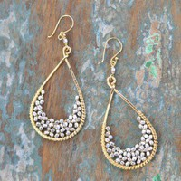 Good Luck Droplet Earrings - $34.00: From ourchoix.com, these silver beads fill woven gold droplet frame earrings. Sophisticated and sexy!