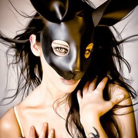 Rabbit leather mask in black by TomBanwell on Etsy