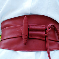 Red Leather Obi Belt with Toggle Closure by ElegantElementsOnlin