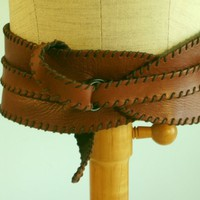 Leather Belt Cummerbund Saddle Color Lined by deborahcracchiolo