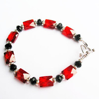 Lovely Red CZ Bracelet - with Black and Silver Spacers