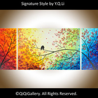 "Original Landscape Handmade Painting Huge Heavy  Texture Impasto Palette Knife Love Birds Tree Wall Decor ""Over the Rainbow"" by QIQIGALLERY"