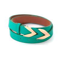 Vegan Tiffany Blue Chevron Classy Buckle Belt