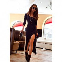 Casual Scoop Neck Long Sleeve Solid Color Asymmetrical Hem Dress For Women