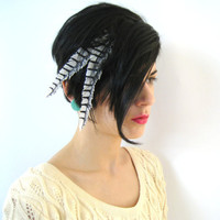 Black and White Feather Hair Clip Extension 1 by honeymoonmuse