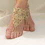 Gold barefoot sandals yasosandals shiny   lace by yasoknitting