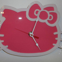 HELLO KITTY White on Pnk Wall Clock