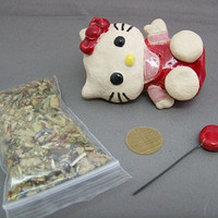 RESERVED 4 DysfunktionDesign Inspired by Hello Kitty Clay Ceramic Pipe / FREE Smoke Kit