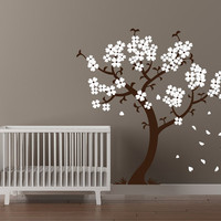 Modern Nursery Cherry Tree Wall Decal Flowering Branches Baby room