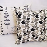BOGO Sale - 2 Coordinating Designer Throw Pillow Covers - Black and Beige Floral Print - 16 x 16 inches Cushion Cover Accent Pillow