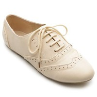Ollio Women's Classic Dress Oxfords Low Flats Heels Lace Up Multi-Color Shoes