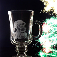 Glass hand engraved Cappuccino mug , featuring Christmas puppy and siamese kitten
